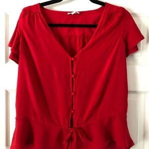 Lucky Brand red button up blouse size Medium